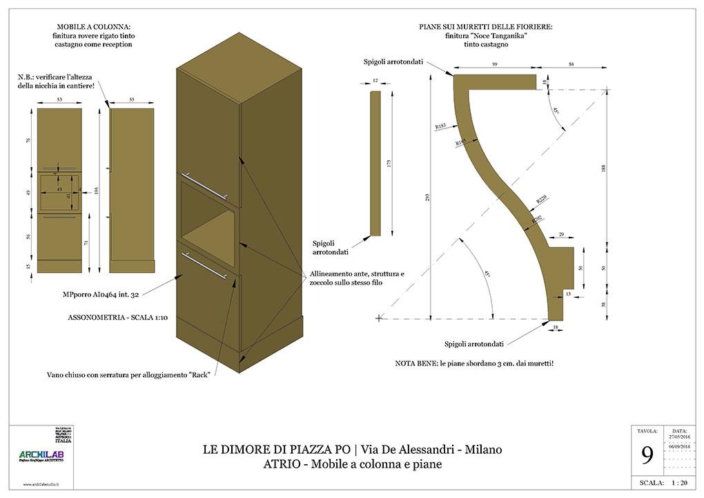 Atrio condominiale via De Alessandri - Disegni esecutivi Armadiature ad incasso