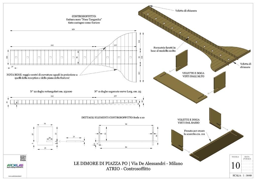 Atrio condominiale via De Alessandri - Disegni esecutivi Controsoffitto in legno