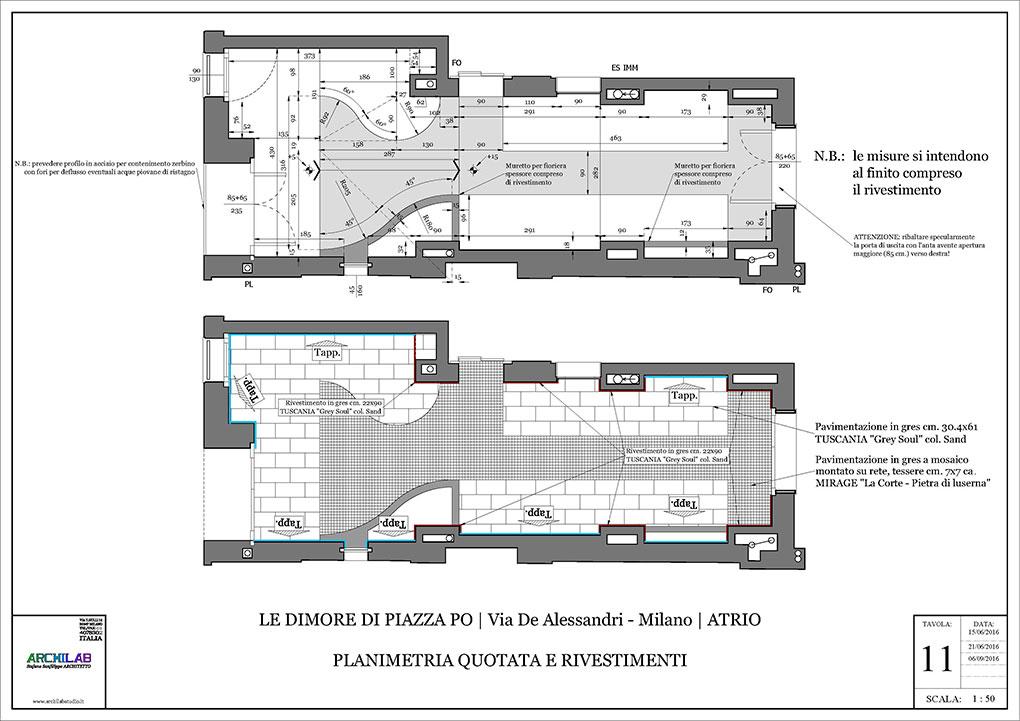 Atrio condominiale via De Alessandri - Disegni esecutivi Pavimenti in gres