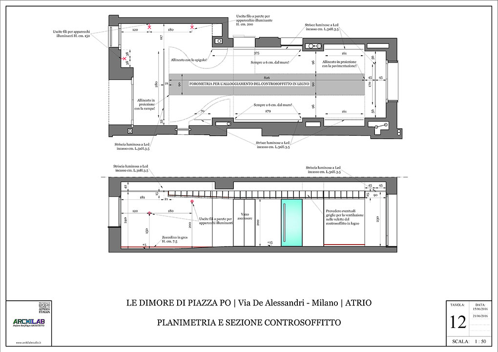 Atrio condominiale via De Alessandri - Disegni esecutivi Planimetria architettonica