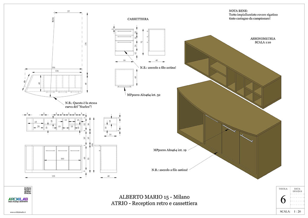 Atrio condominio Via Alberto Mario - Disegni esecutivi scaffallature