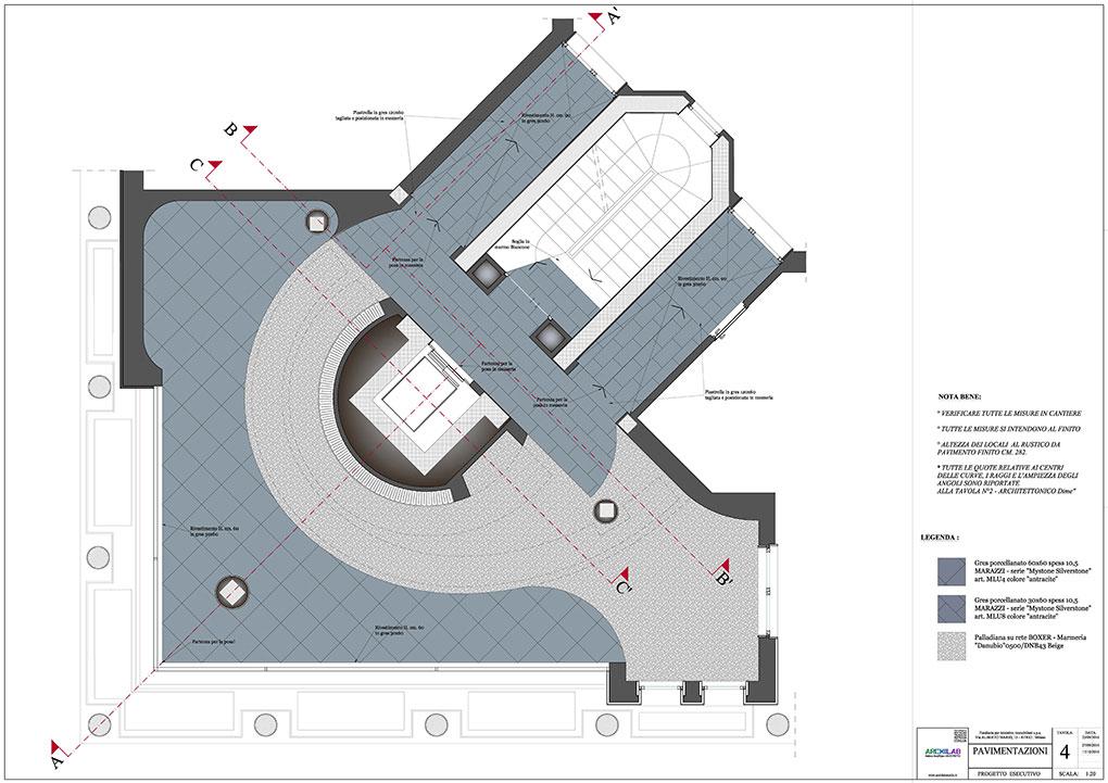 Atrio condominio Via Alberto Mario - Disegni pavimentazioni