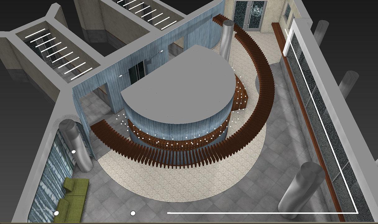 Atrio condominio Via Alberto Mario - Planimetria prospettica 03