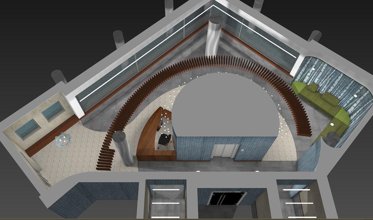 Atrio condominio Via Alberto Mario - Planimetria prospettica 05