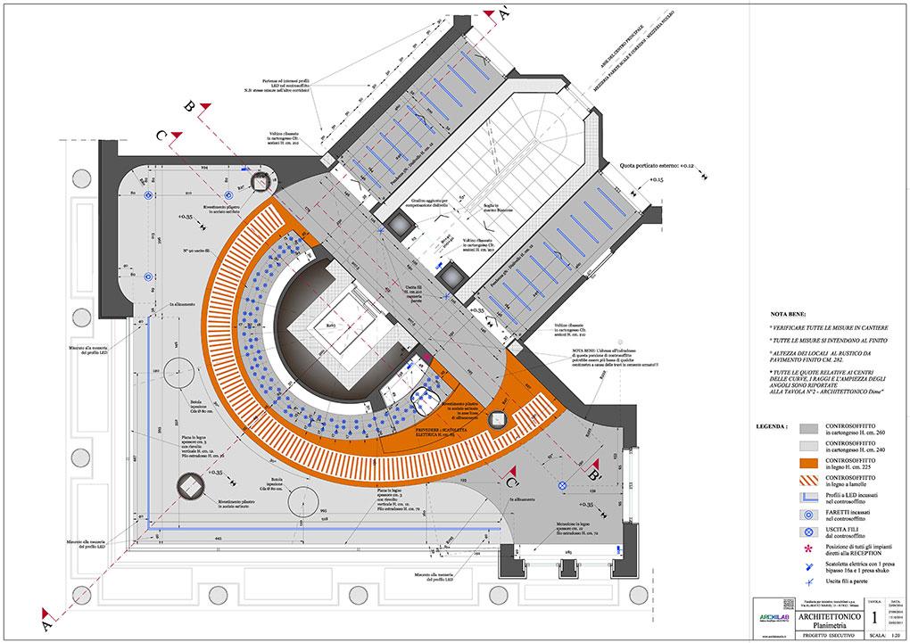 Atrio condominio Via Alberto Mario - Progetto architettonico