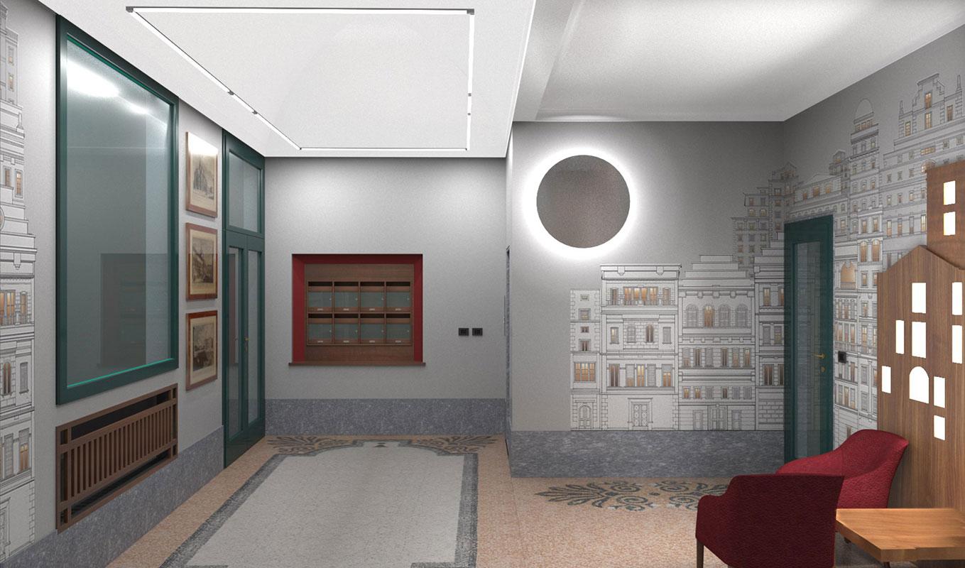 Atrio condominio Via Sant'Orsola - Progetto Vista casellario postale e ingresso