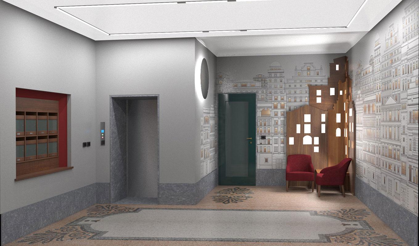 Atrio condominio Via Sant'Orsola - Progetto Vista ingresso