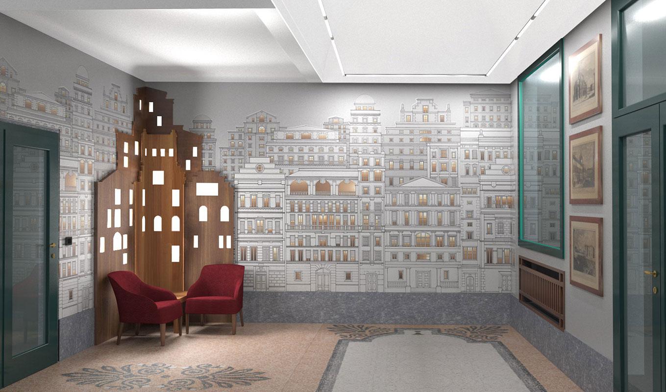 Atrio condominio Via Sant'Orsola - Progetto Vista salotto