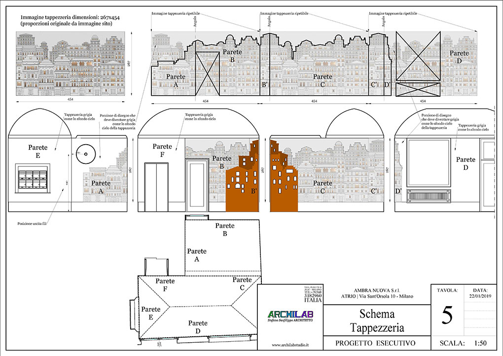 Atrio condominio Via Sant'Orsola - Tavola esecutiva tappezzeria