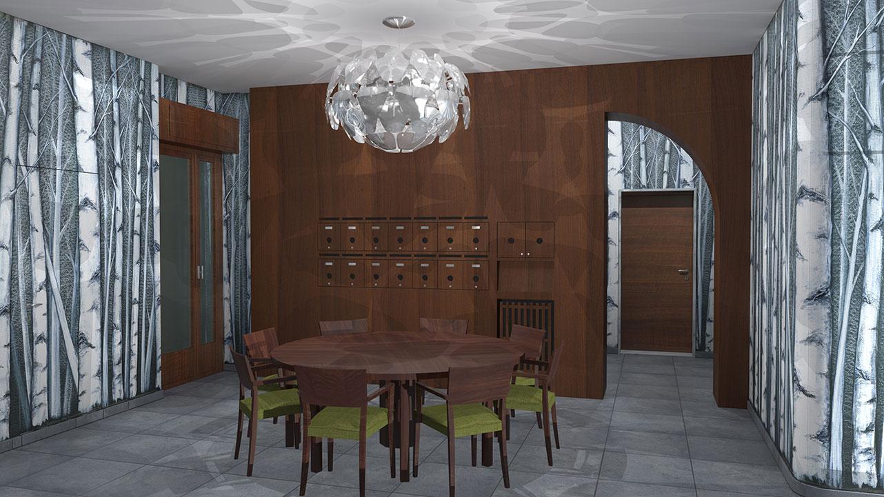 Entrata condominio Via Stendhal - Casellario postale inserito nella boiserie