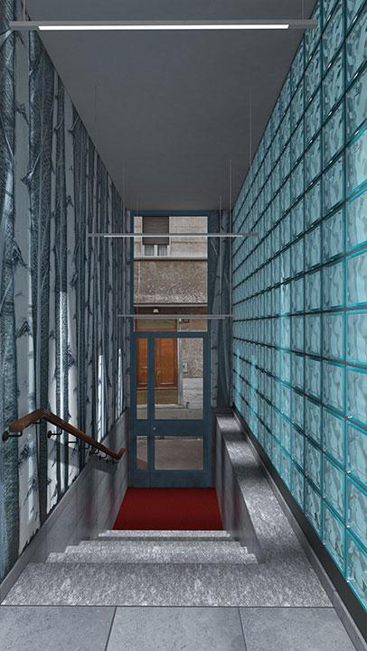 Entrata condominio Via Stendhal - Illuminazione naturale vetrocemento