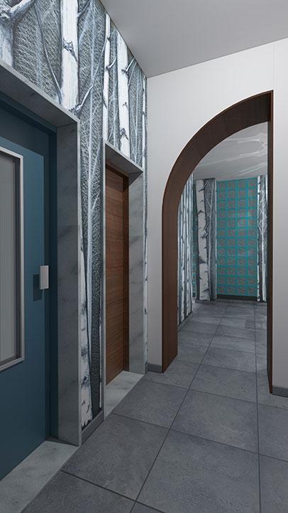 Entrata condominio Via Stendhal - Ingresso ascensore