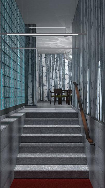 Entrata condominio Via Stendhal - Ingresso con zerbino incassato