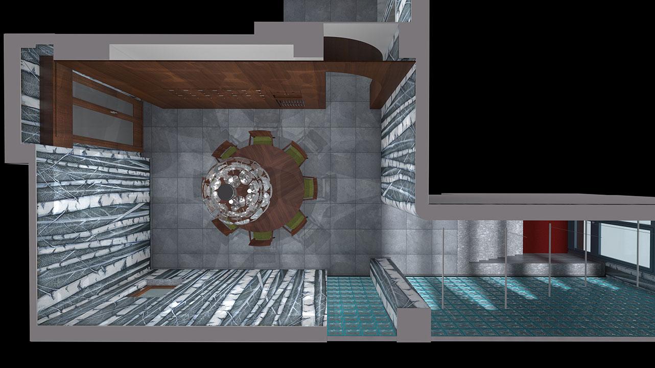 Entrata condominio Via Stendhal - Planimetria prospettica