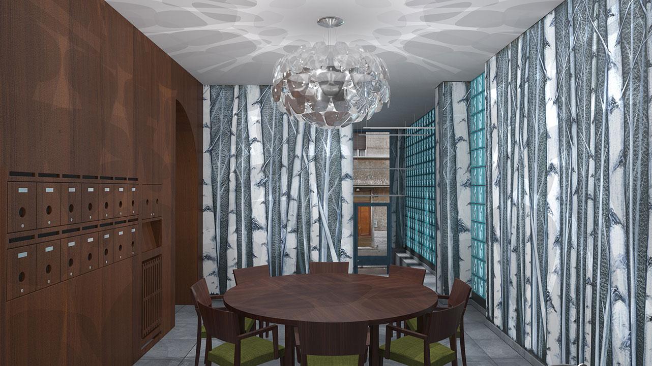 Entrata condominio Via Stendhal - Sala per riunioni condominiali