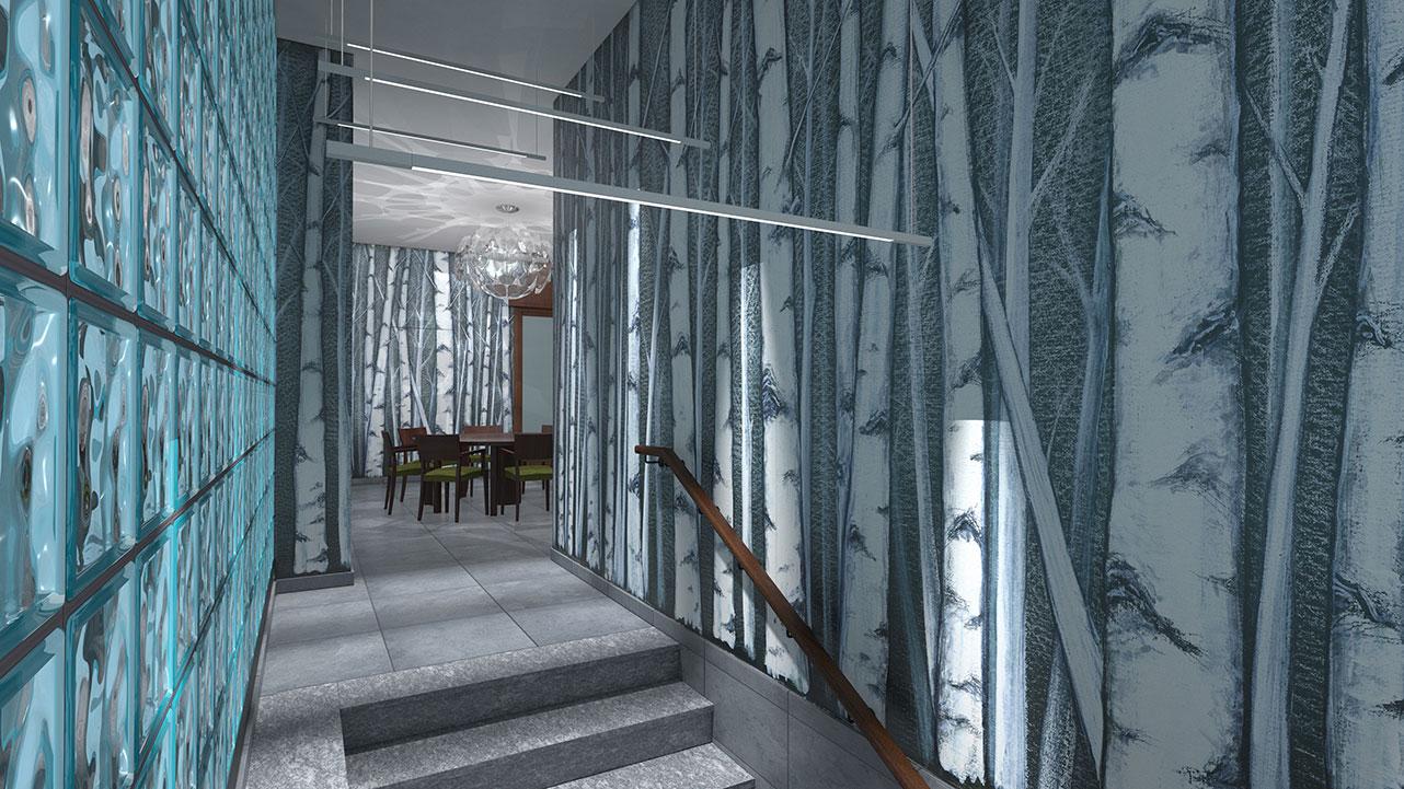 Entrata condominio Via Stendhal - Tappezzeria ingresso