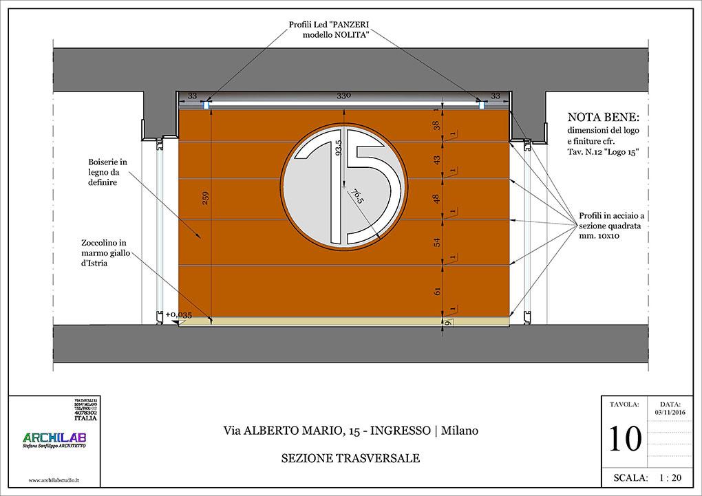 Ingresso condominiale Via Alberto Mario - Disegni sezione e vista logo