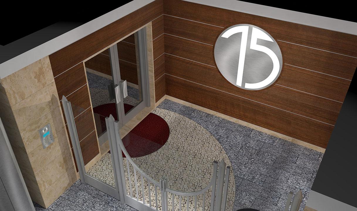 Ingresso condominiale Via Alberto Mario - Logo condominio