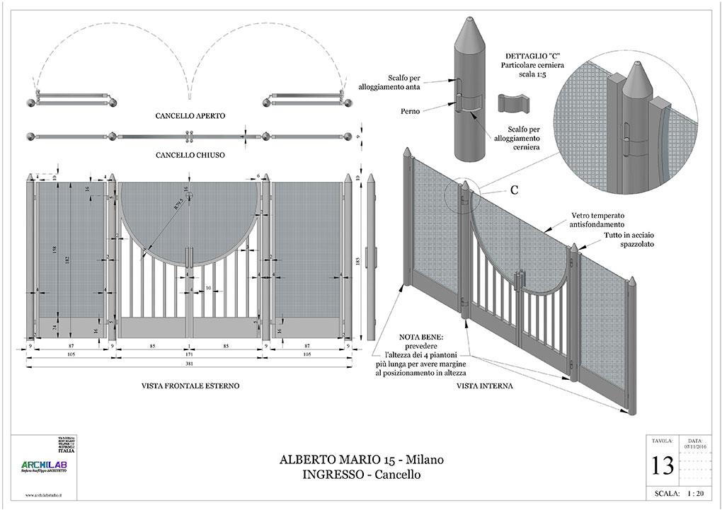 Ingresso condominiale Via Alberto Mario - Progetto esecutivo cancello in acciaio e vetro