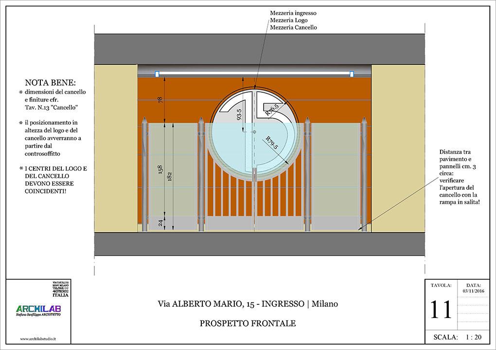 Ingresso condominiale Via Alberto Mario - Prospetto ingresso condominio