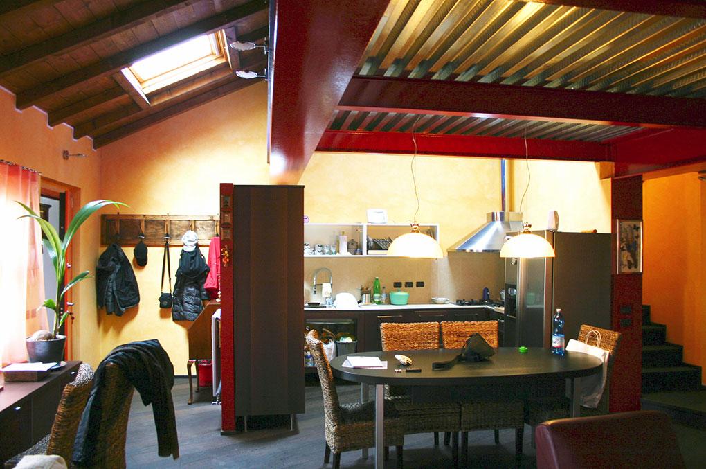 Loft con sopralzo - Zona cucina pranzo open space
