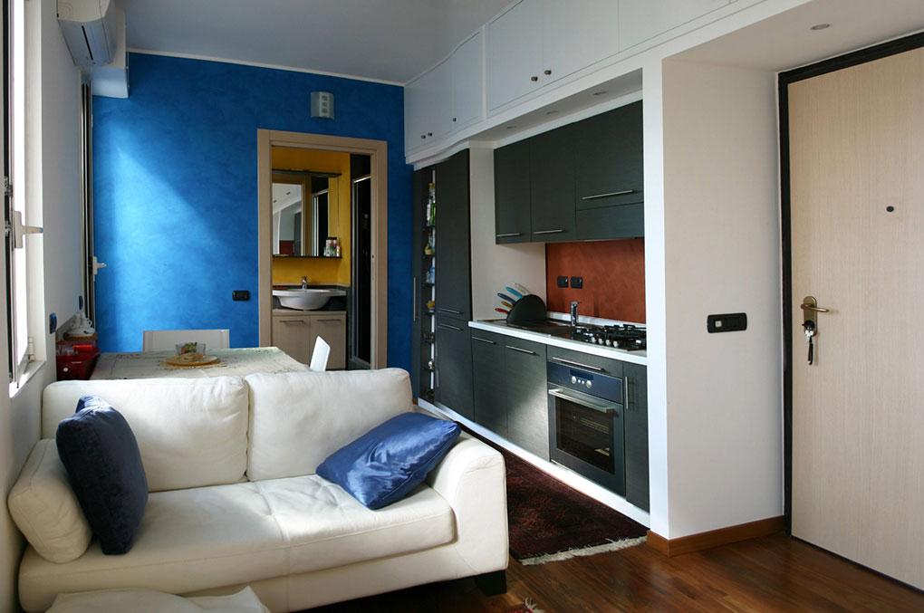 Terrazzo con appartamento - Via Montegani Zona giorno compattata