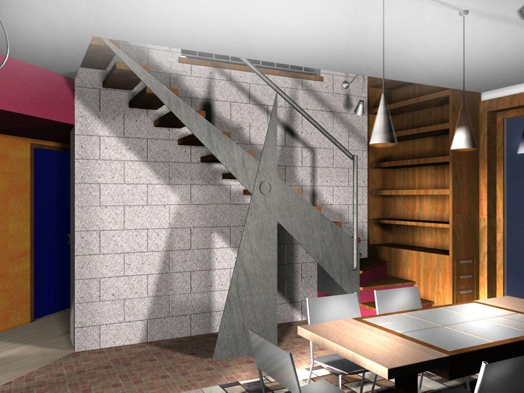 Una scala aerea - Via Alighieri Scala con cosciale in acciaio e gradini in legno