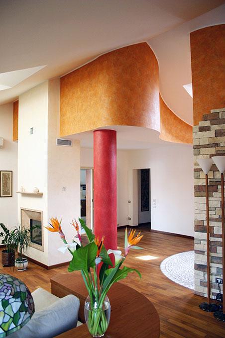 Unione di due appartamenti - Via Cavour Controsoffitto curvo
