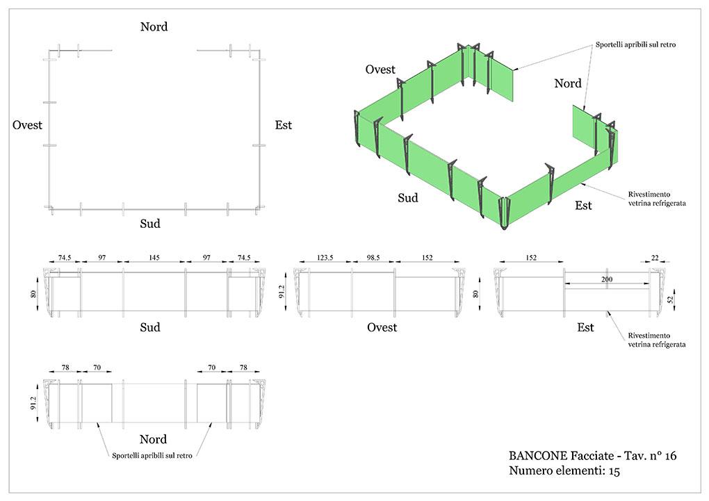 Progetto caffetterie - Facciate bancone