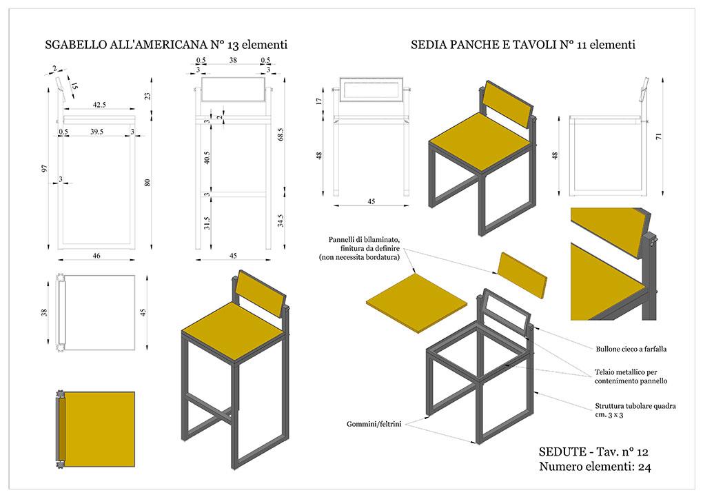 Progetto caffetterie - Sedute in ferro e legno