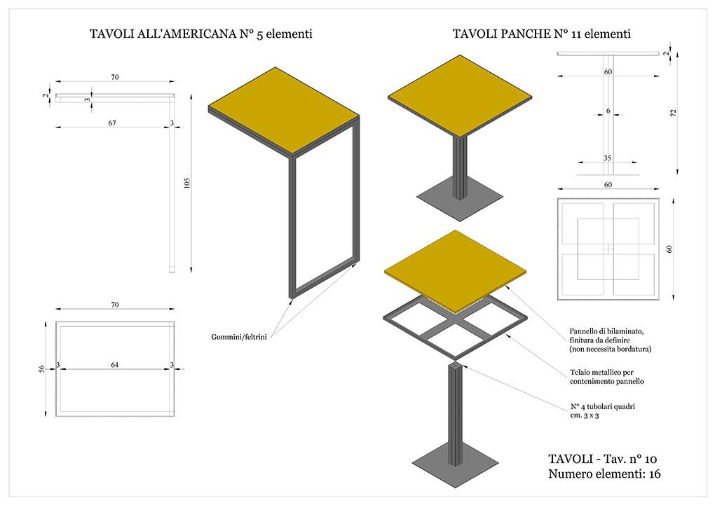 Progetto caffetterie - Tavoli in ferro