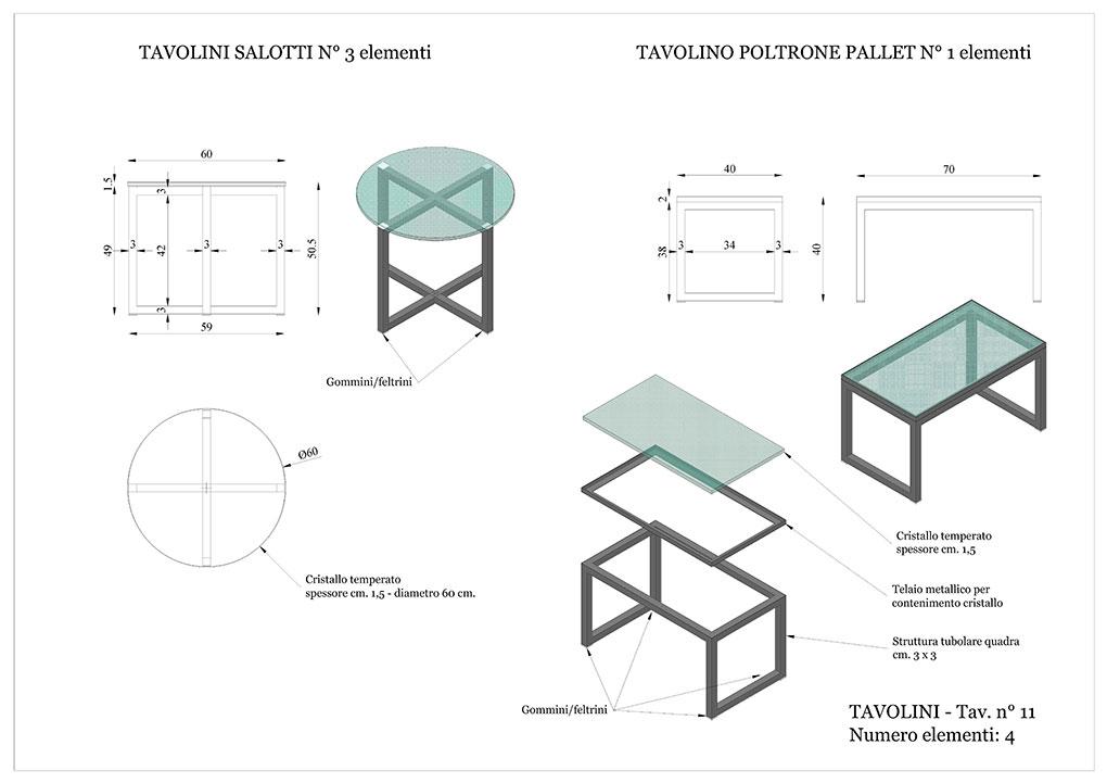 Progetto caffetterie - Tavolini in vetro e ferro